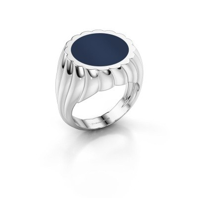Foto van Zegelring Mano 925 zilver donker blauw lagensteen 13 mm