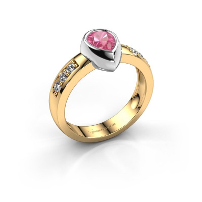 Ring Charlotte Pear 585 gold pink sapphire 8x5 mm