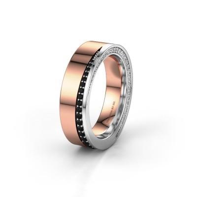 Trouwring WH1002L15DP 585 rosé goud zwarte diamant ±6x2.3 mm