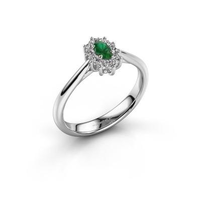 Foto van Verlovingsring Leesa 1 585 witgoud smaragd 6x4 mm