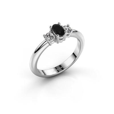 Foto van Aanzoeksring Karie 585 witgoud zwarte diamant 0.436 crt