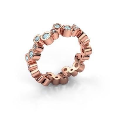 Foto van Ring Tessa 375 rosé goud aquamarijn 2.5 mm