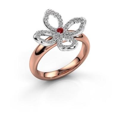 Ring Chelsea 585 rosé goud robijn 2 mm