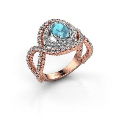 Ring Chau 585 rosé goud blauw topaas 7x5 mm