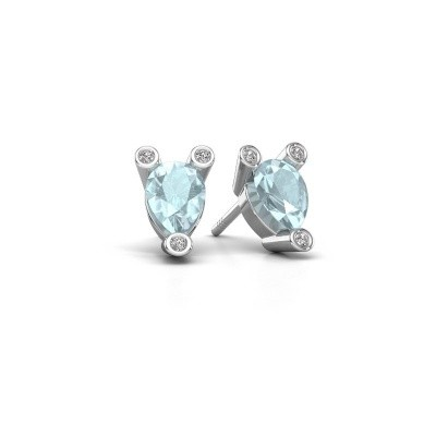Picture of Stud earrings Cornelia Pear 925 silver aquamarine 7x5 mm