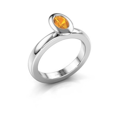 Stapelring Trudy Oval 925 zilver citrien 6x4 mm