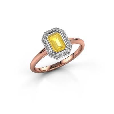 Verlovingsring Noud 1 EME 585 rosé goud gele saffier 6x4 mm