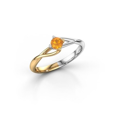Photo de Bague de fiançailles Paulien 585 or jaune citrine 4 mm