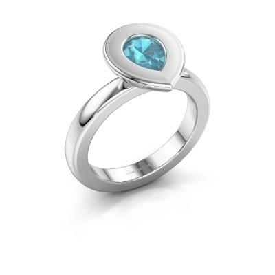 Stapelring Eloise Pear 950 platina blauw topaas 7x5 mm