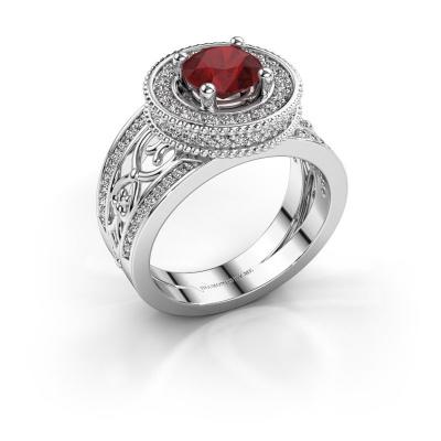 Ring Joy 585 witgoud robijn 6.5 mm