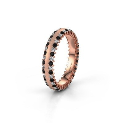 Wedding ring WH2139L24B 375 rose gold black diamond ±4x2 mm
