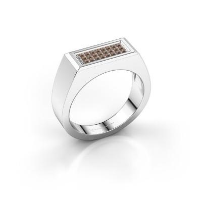 Herrenring Dree 6 585 Weißgold Braun Diamant 0.16 crt