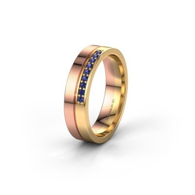 Trouwring WH0213L15AP 585 rosé goud saffier ±5x1.7 mm