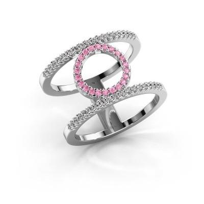 Ring Latoria 2 585 witgoud roze saffier 1.1 mm