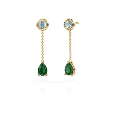 Picture of Drop earrings Laurie 3 375 gold emerald 7x5 mm