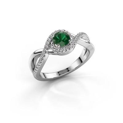 Foto van Verlovingsring Melody 585 witgoud smaragd 5 mm