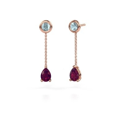 Picture of Drop earrings Laurie 3 375 rose gold rhodolite 7x5 mm