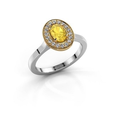 Foto van Ring Madelon 1 585 witgoud gele saffier 7x5 mm