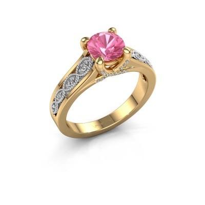 Aanzoeksring Clarine 585 goud roze saffier 6.5 mm