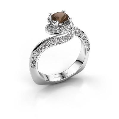 Engagement ring Sienna 585 white gold smokey quartz 5 mm