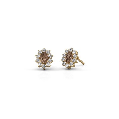 Earrings Leesa 375 gold brown diamond 1.60 crt