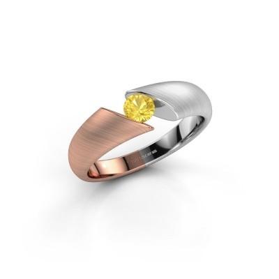 Foto van Verlovingsring Hojalien 1 585 rosé goud gele saffier 4 mm