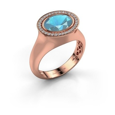 Ring Phebe 375 rose gold blue topaz 10x8 mm