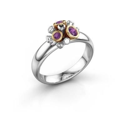 Ring Pameila 585 witgoud amethist 2 mm
