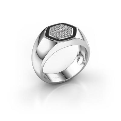 Heren ring Kris 585 witgoud zirkonia 1.1 mm