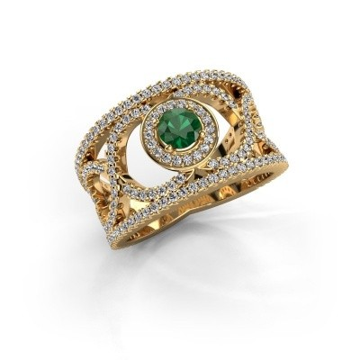 Foto van Ring Regina 375 goud smaragd 4.2 mm