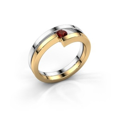 Foto van Ring Nikia 585 witgoud granaat 3.4 mm
