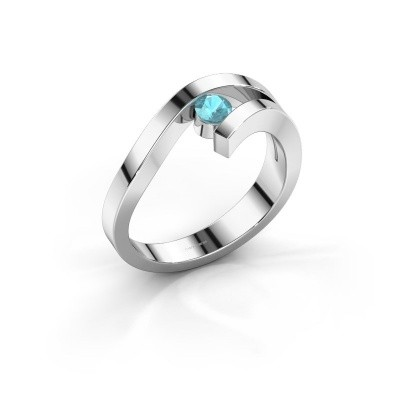 Ring Evalyn 1 585 witgoud blauw topaas 3.7 mm
