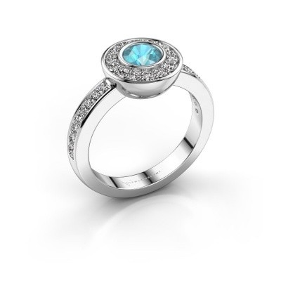 Ring Ivy 585 white gold blue topaz 5 mm