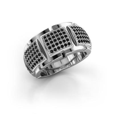 Ring Laura 585 witgoud zwarte diamant 0.90 crt