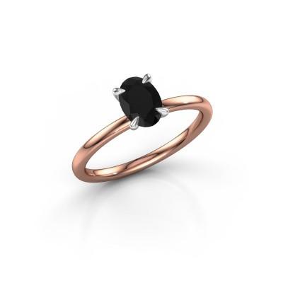 Foto van Verlovingsring Crystal OVL 1 585 rosé goud zwarte diamant 1.05 crt