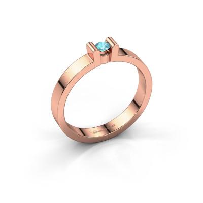 Verlovingsring Sofie 1 585 rosé goud blauw topaas 3 mm