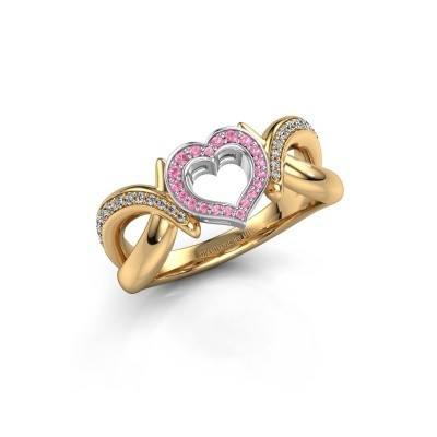 Ring Earlie 2 585 gold pink sapphire 1.1 mm
