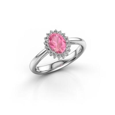 Foto van Verlovingsring Tilly 1 585 witgoud roze saffier 7x5 mm