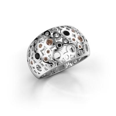 Ring Jaylinn 2 950 platina bruine diamant 0.295 crt