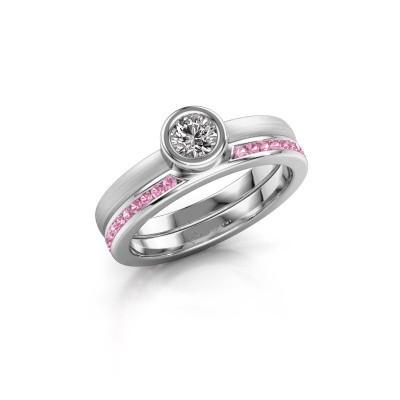 Ring Cara 585 witgoud roze saffier 4 mm