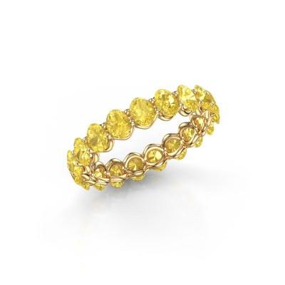 Ring Kirsten OVL 4x3 375 goud gele saffier 4x3 mm