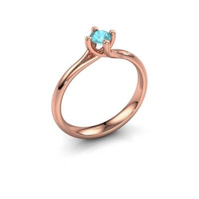 Engagement ring Dewi Round 375 rose gold blue topaz 4 mm