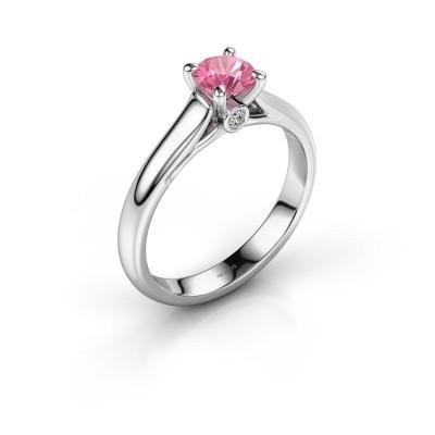 Foto van Verlovingsring Valorie 1 585 witgoud roze saffier 5 mm