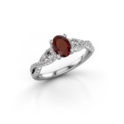 Picture of Engagement ring Marilou OVL 925 silver garnet 7x5 mm