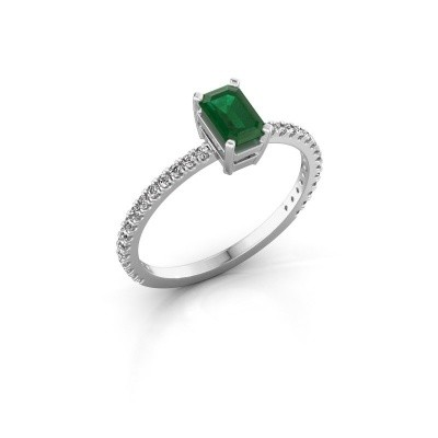 Foto van Verlovingsring Denita 2 925 zilver smaragd 6x4 mm
