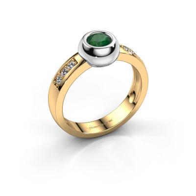Ring Charlotte Round 585 goud smaragd 4.7 mm