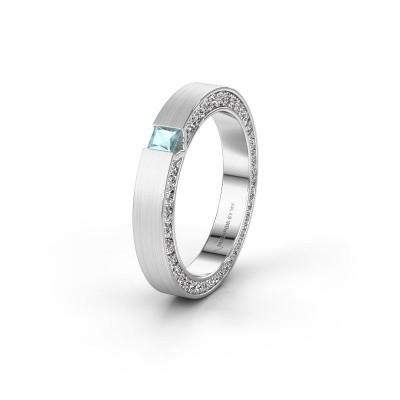 Wedding ring WH2140L14B 925 silver aquamarine ±3,5x2 mm