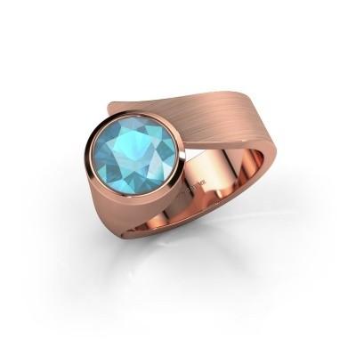 Ring Nakia 375 rosé goud blauw topaas 8 mm