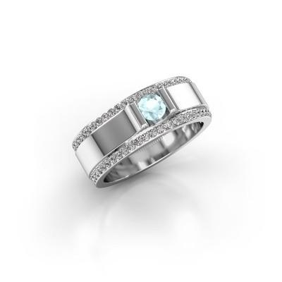 Men's ring Danillo 950 platinum aquamarine 4.2 mm
