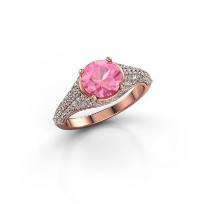 Verlovingsring Lovella 375 rosé goud roze saffier 7 mm